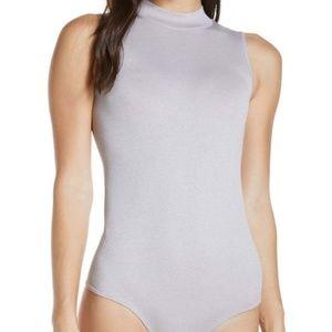 BP maya mock neck ribbed gray bodysuit stretch